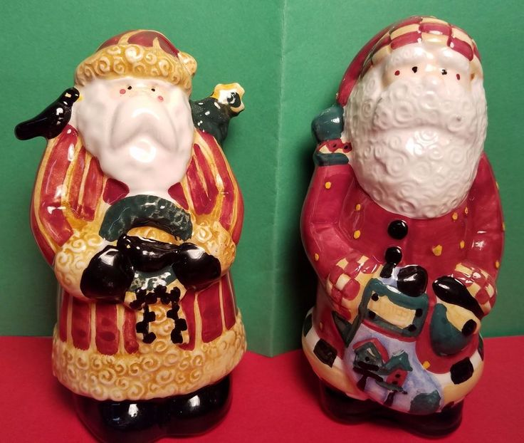 Santas Retweet - 1997 - Earthenware Salt & Pepper Shakers - Sakura - Debbie Mumm