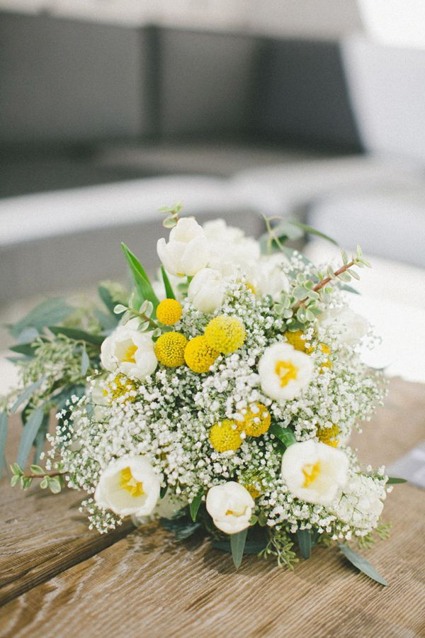 Tulips Craspedia And Baby S Breath Yellow Bouquets Flower Bouquet Wedding Flowers Bouquet