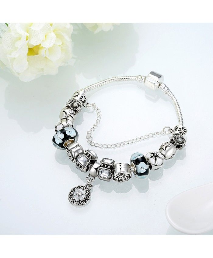 New Fashion Black Glass Charms With Flower Pendant DIY Bracelet