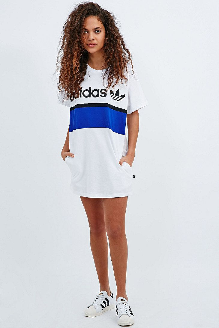 Black dress with adidas shoes - Adidas City Tee Dress In White Urban Outfitters