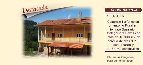 AST906 Valle del Narcea. Grado. Asturias.  Hotel balneario en Venta http://www.lancoisdoval.es/casas-rurales-en-venta.html