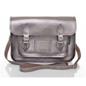 Metalic Pewter Leather Satchel