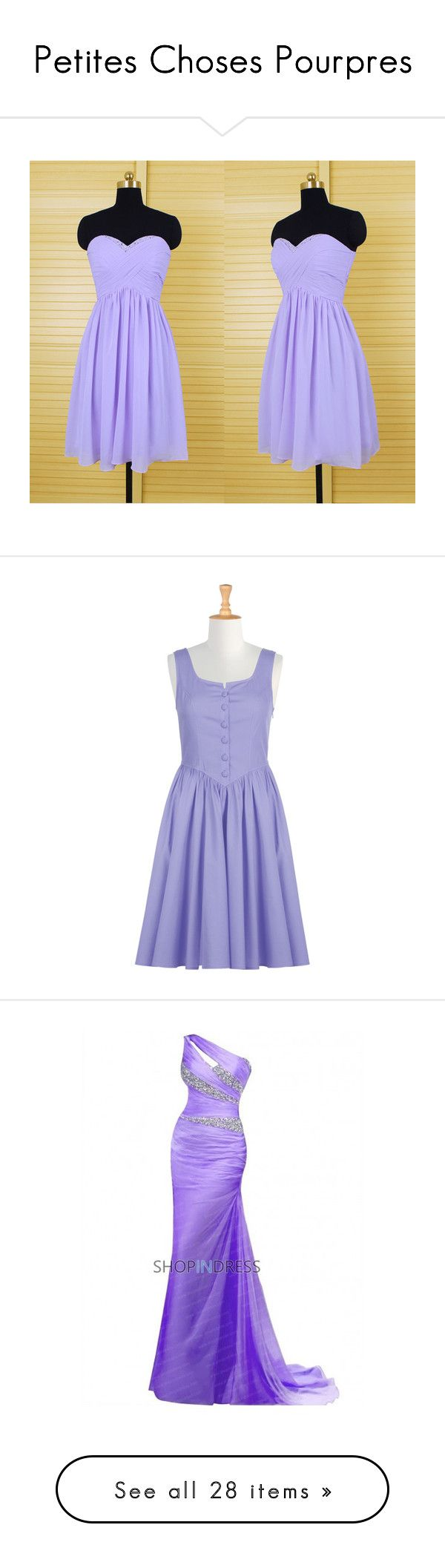 """""""Petites Choses Pourpres"""" by artemisa-538 ❤ liked on Polyvore featuring dresses, black, women's clothing, bridesmaid dresses, short dresses, black prom dresses, sexy black dresses, short bridesmaid dresses, lavender and eshakti dress"""