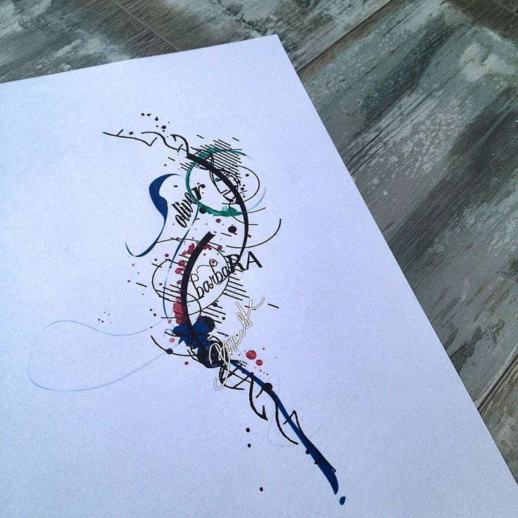 Family watercolor tattoo abstract dna