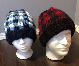 An awesome buffalo plaid design that can have a fitted beanie look or a slouchy look. Pom Poms optional.