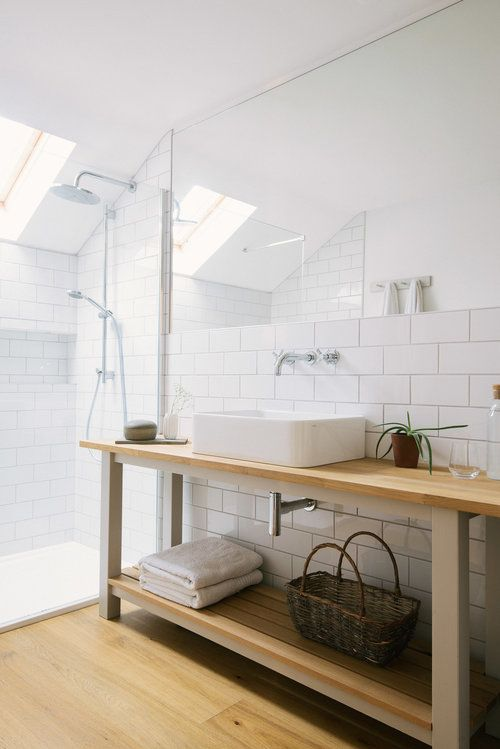 Simple ensuite with walk-in shower, countertop basin ans wall-mounted taps