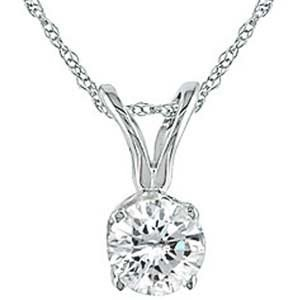 10k White Gold Diamond Solitaire Pendant Necklace « Blast Gifts