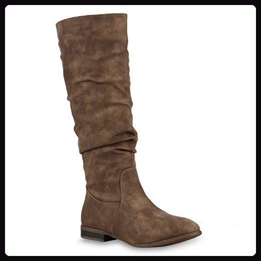 Damen Stiefel Klassische Langschaft Boots Schuhe 125641