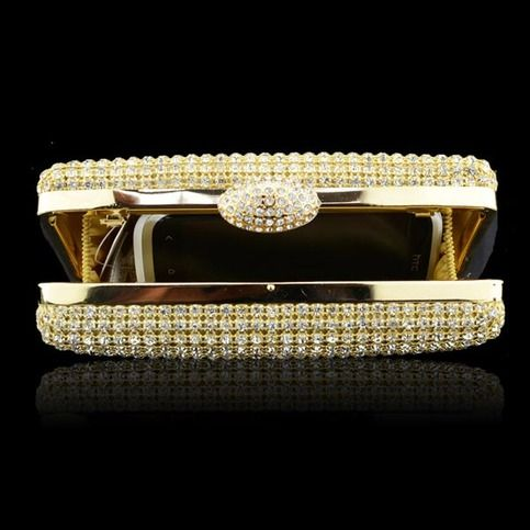 Quality product,full diamond is sparkling,it brings fashion and luxury,gold and silver are beautiful colors,it make you be a focus is parties Details: Quality : High Quality Color : Gold,Silver Weight : About 430g Length : 16cm(6.30'') Height : 8cm(3.15'') Width : 4.5cm(1.77'') Gender : W...