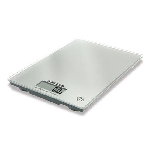 Salter large ultra slim glass platform electronic kitchen scale. Add & weigh, allows for measurement of multiple ingredients in the same bowl. Easy to read LCD display. Weigh directly on the platform or weigh with own mixing bowl. Switch between metric and imperial. Max weights 5kg/ 11lb