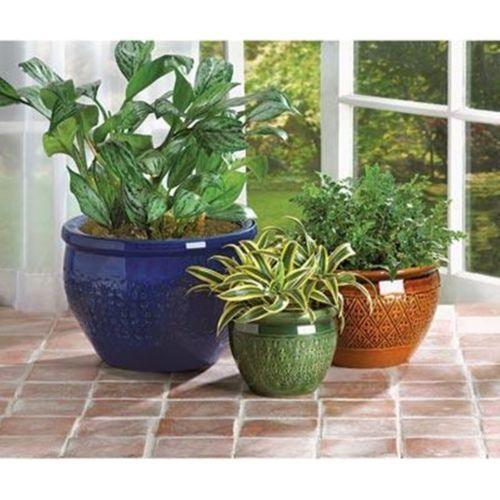 Jewel Tone Flower Pot Planter Set Of Three Outdoor Garden Decor | EBay  Purchase From Http