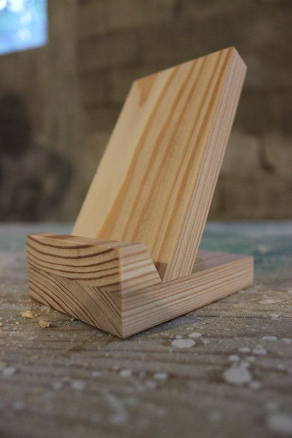 hand made wooden mobile phone stand by propagandaaevias on Etsy