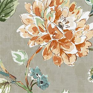 This is a gray, orange and green floral cotton drapery fabric, suitable for any decor in the home or office.  Perfect for pillows, drapes and bedding.
