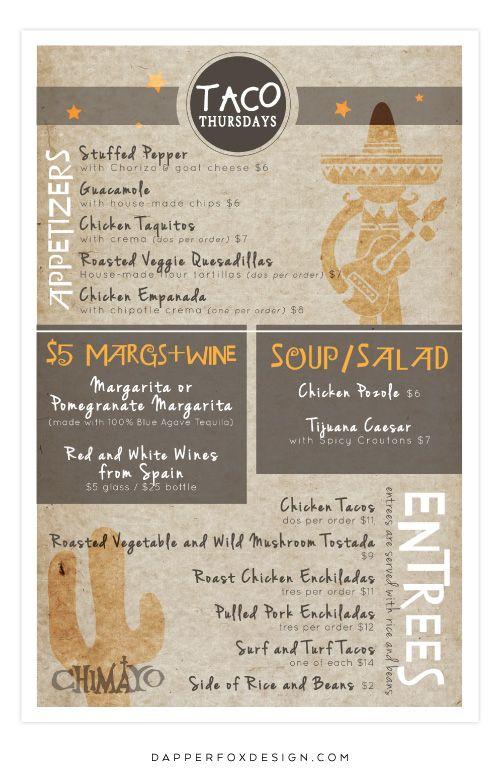 Southwestern Restaurant Menu Design by Dapper Fox - Mexican Restaurant Taco Tuesday Menu