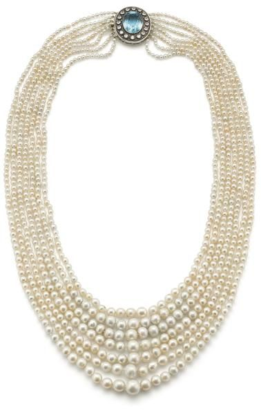 A natural pearl, aquamarine and diamond necklace