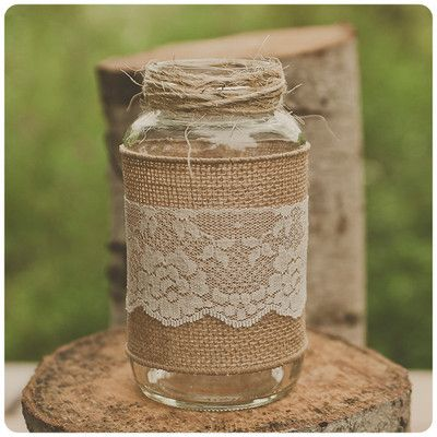 love this jar only instead of the lace we can tie some kinda coral or tiffany blue ribbon