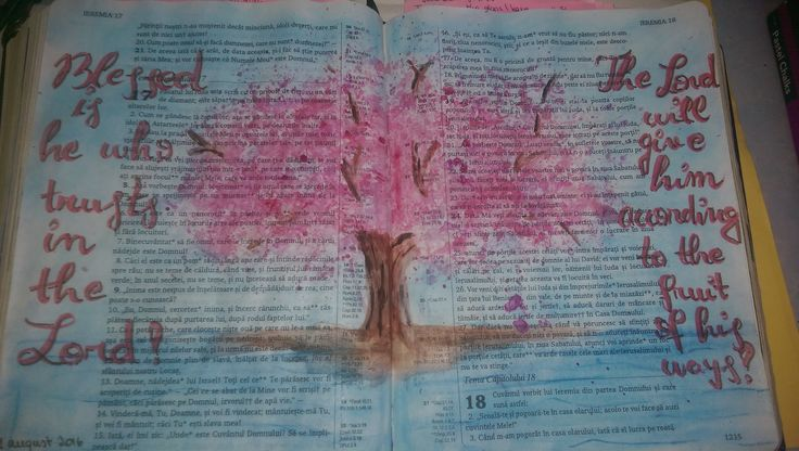 Bible Journaling page in Jeremiah 17..  Process video: https://www.youtube.com/watch?v=zPLgflOT5ps