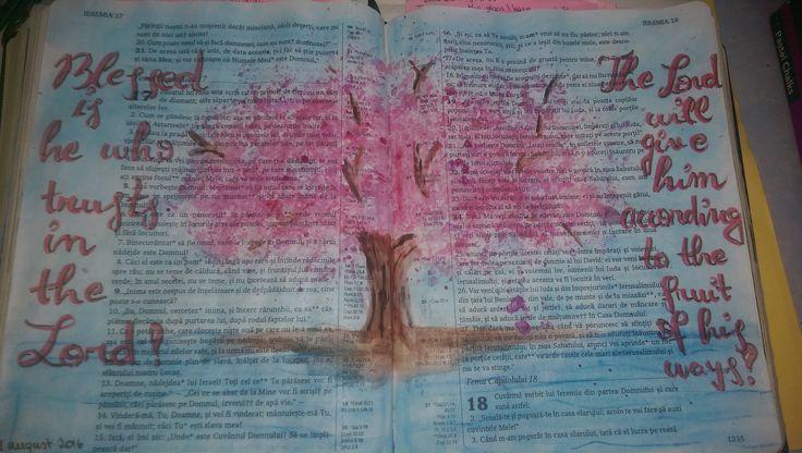 Bible Journaling page in Jeremiah 17..  Process video: https://www.youtube.com/watch?v=zPLgflOT5ps