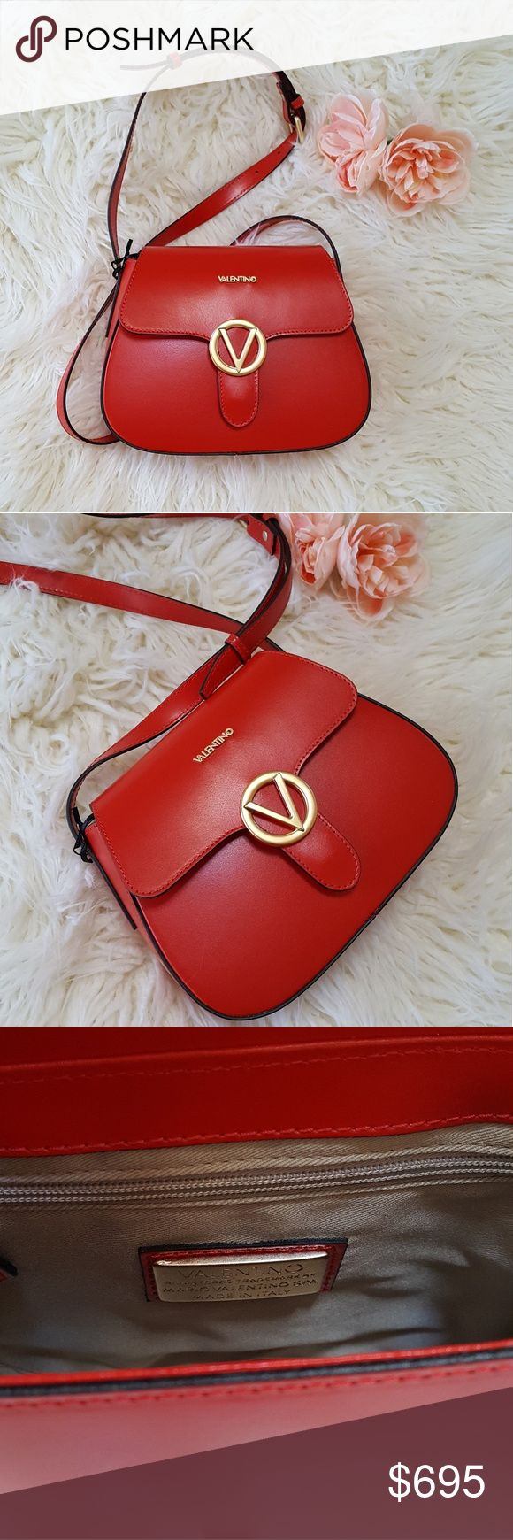 💕HP!💕NWT Authentic Red Leather Valentino Bag Authentic red leather Valentino crossbody made in Italy. Comes with dustbag. Gold tone accents. Gooooorgeous!!!😍😍 ***Host pick 1/30/18 Best in Bags*** *Open to offers Valentino Bags Crossbody Bags