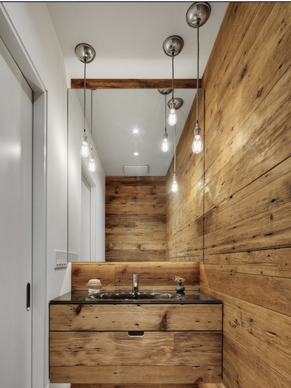 Bathroom walls and vanity from pallets.
