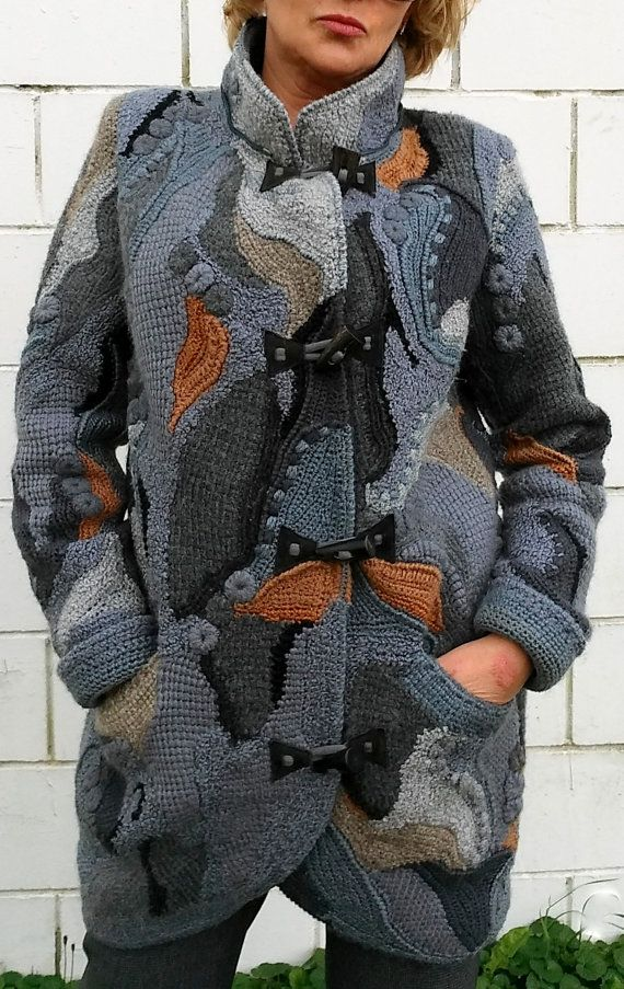 Crochet coat /cardigan freeform, patchwork, boho for women