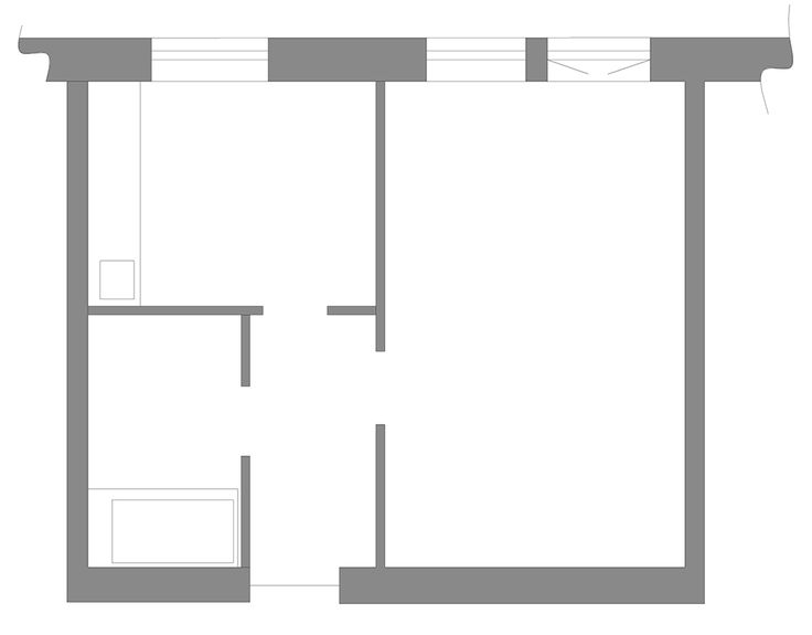 Планировка однокомнатной квартиры - мини-лофт 38 кв м