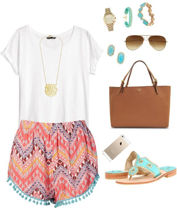 I love the colours in this outfit. I like the plain white shirt. It looks great with the colourful shorts.