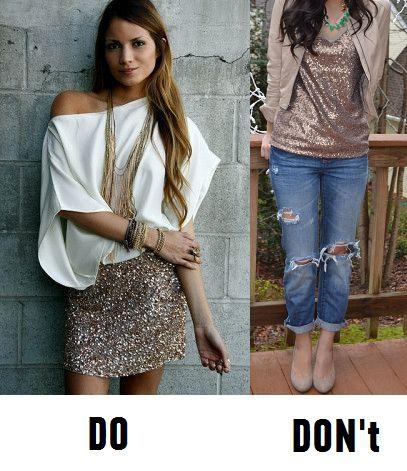 Don't: слишком кэжуал по контрасту с топом. Получается ни туда, ни сюда. А вот в образе-примере очень сбалансированный образ: асимметричная блуза из гладкой ткани отлично дополняет юбку с пайетками.