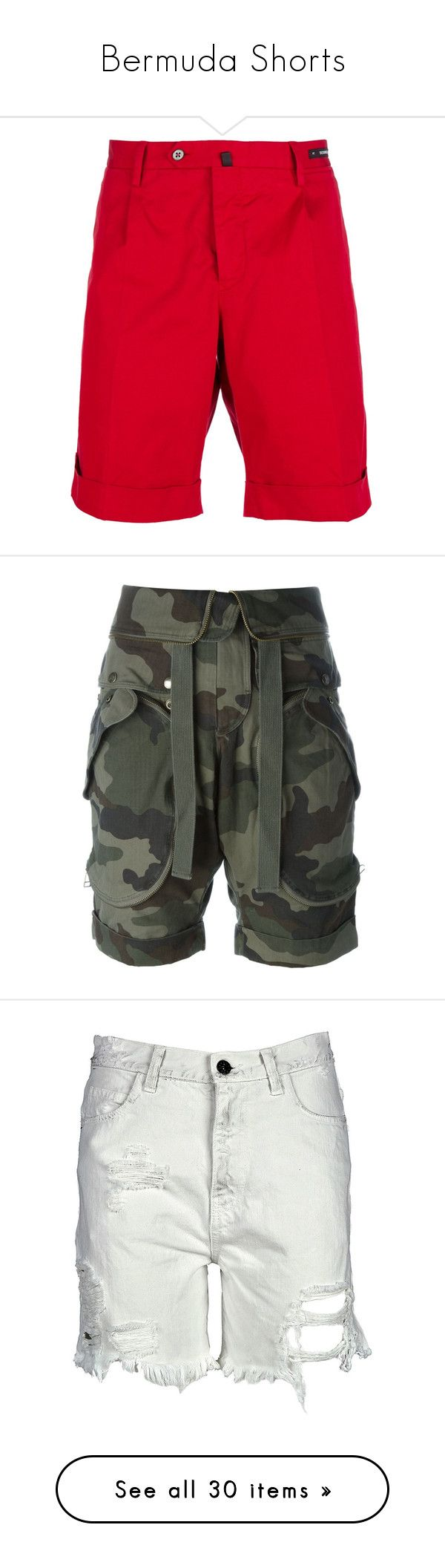"""""""Bermuda Shorts"""" by sheryl-lee ❤ liked on Polyvore featuring men's fashion, men's clothing, men's shorts, mens bermuda shorts, mens red shorts, shorts, pants, green, camoflage cargo shorts and camoflauge shorts"""