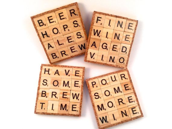 Enjoy a set of 4 drink-inspired scrabble coasters! These coasters are made from an assortment of upcycled repurposed scrabble tiles.