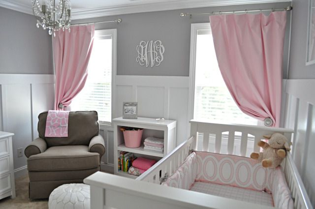 Love the idea of a gray and pink nursery, and the monogram on the wall...just needs at least one pink wall