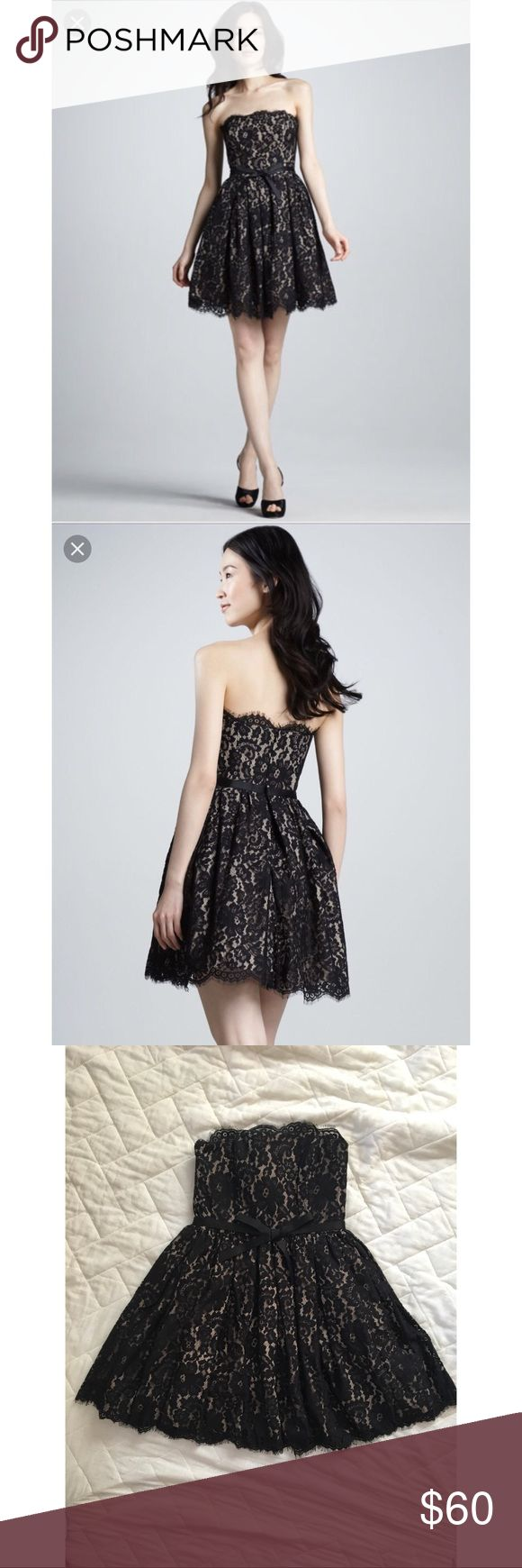 Lace Party Dress Beautiful strapless mini by Robert Rodriguez for Target X Neimun Marcus. New with Tags. REASONABLE Offers WILL Be Accepted. Black lace over nude lining with bow at waist. Formal Robert Rodriguez Dresses Mini