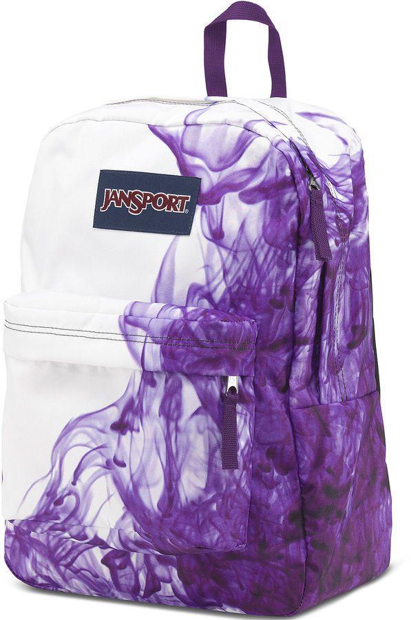 Jansport Superbreak Purple Drip Dye Backpack Tween Girls School