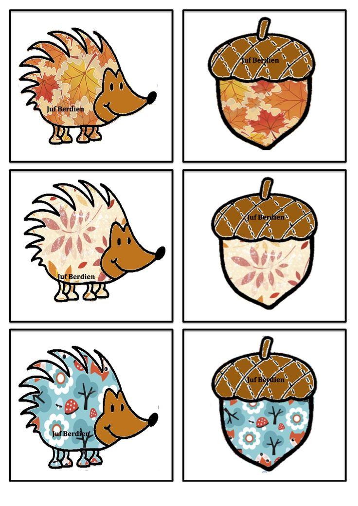 Egel memory 1 Juf Berdien thema Herfst Herfstdieren  volledige spel Facebookgroep: 'Juf Berdien'