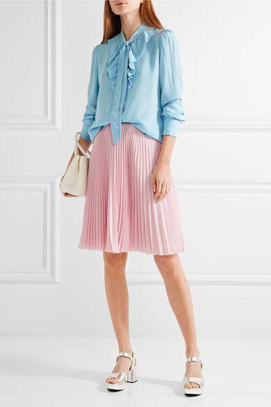 Prada - Pleated Crepe De Chine Skirt - Pastel pink - IT