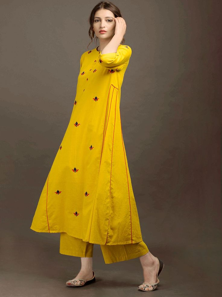 Yellow Khadi Applique Kurta