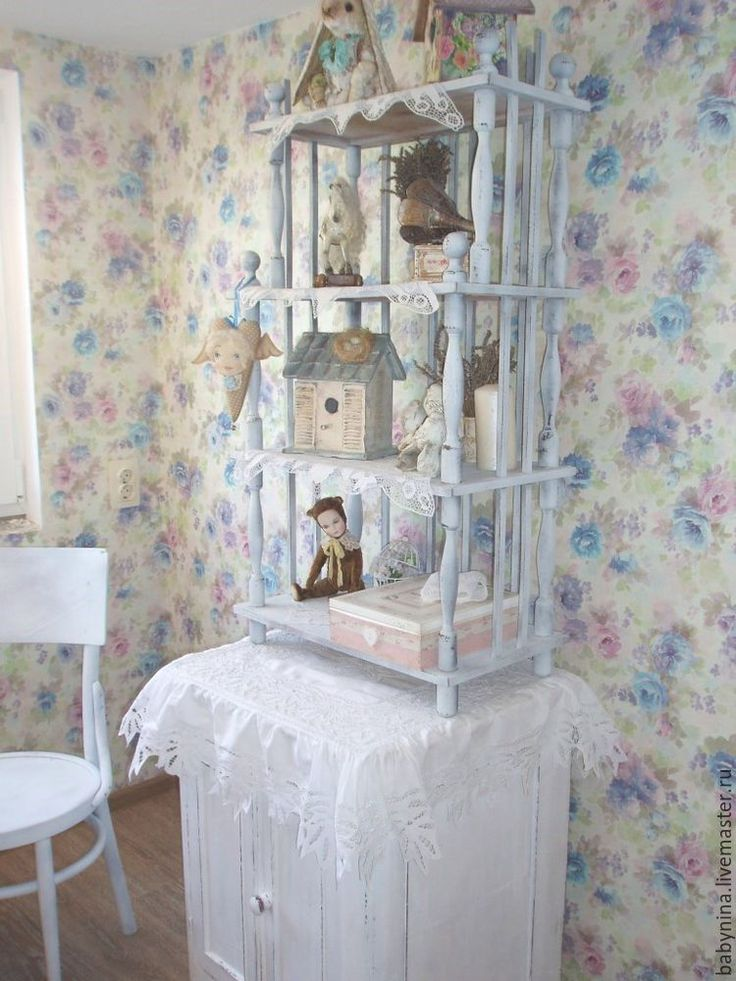 Этажерка в стиле шебби шик для кукольной мастерской - Ярмарка Мастеров - ручная работа, handmade