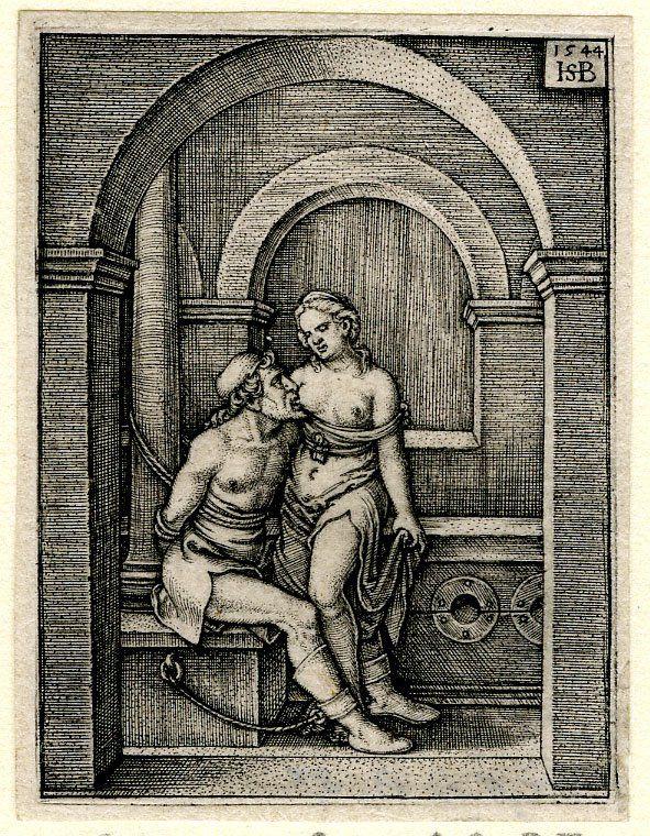 Roman Charity engraved by Hans Sebald Beham dated 1544 -- source of album painting adjacent -- via BM website