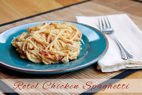 This Rotel Chickek Spaghettiis seriously yummy comfort food.Kindof like macaroni and cheese with a kick!  I try to refrain from second helpings most