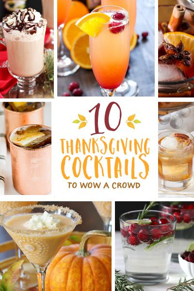 This Thanksgiving, indulge in something a little more fanciful than the same old beer and wine. These 10 Thanksgiving cocktail recipes will wow a crowd—whether while cooking up a storm, watching football, or toasting before your feast. From Champagne to Bailey's, schnapps to bourbon, ginger...