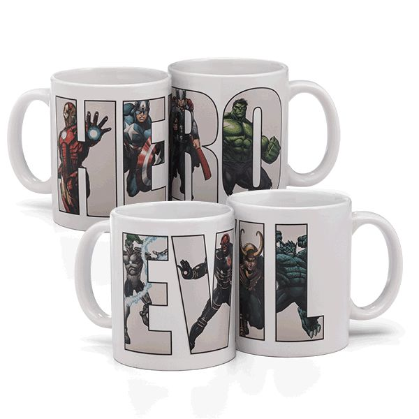Choose whose side are you on: Hero or Evil? These mugs, which display the words in bold black font, start to reveal villains or heroes from the Marvel universe as soon as you fill it up with hot liquid. Each mug displays four heroes of villains.