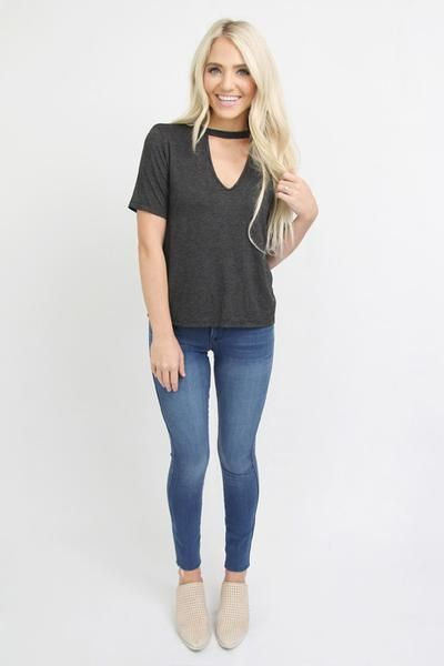 Charcoal V Neck Choker Tee, size tween 16 or AXS