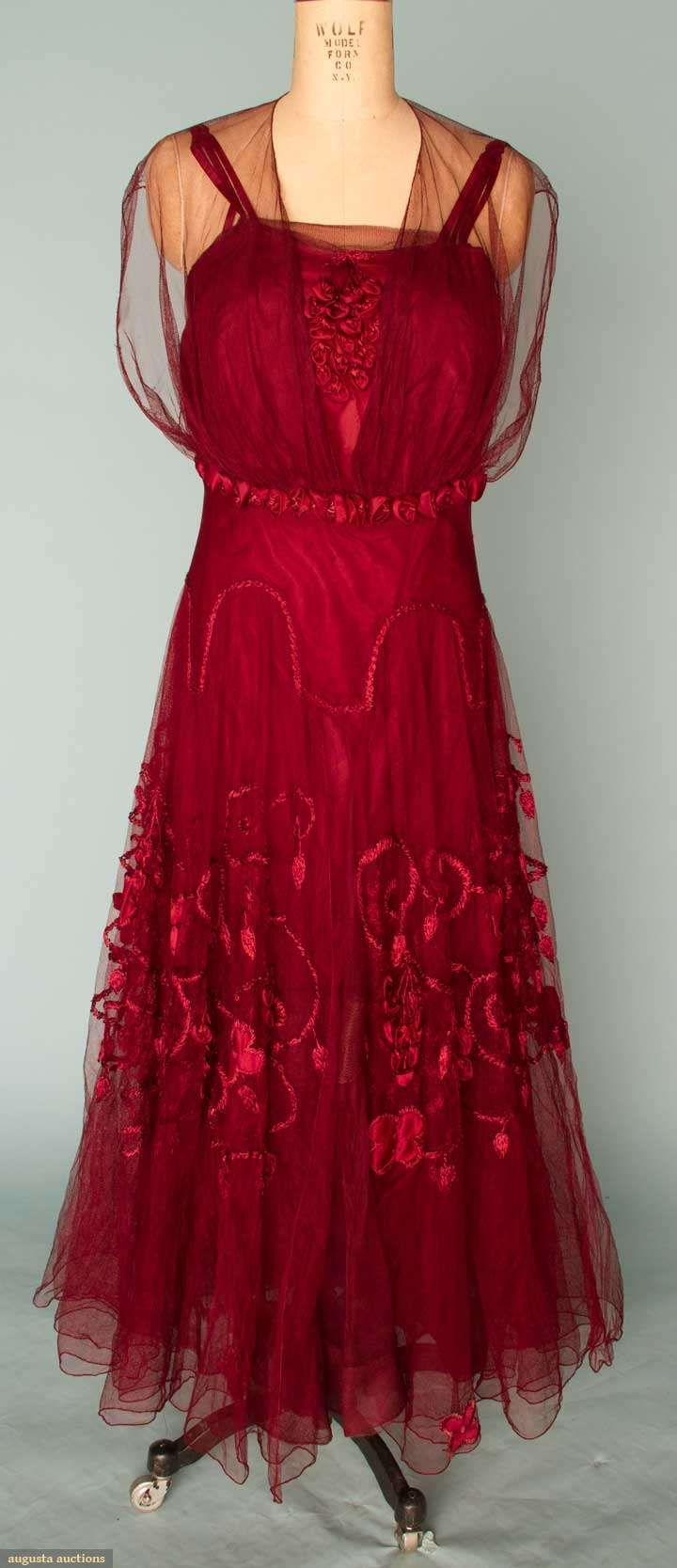 Embroidered Garnet Silk Evening Gown, C. 1915, Augusta Auctions, November 14, 2012 NEW YORK CITY, Lot 173