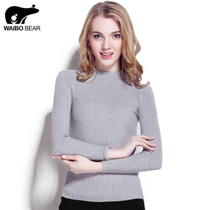 WAIBO BEAR New 2016 Cashmere Sweater Women Spring Cashmere Pullovers Long Sleeve half turtleneck sweater Slim Knitwear Jumper [Affiliate]