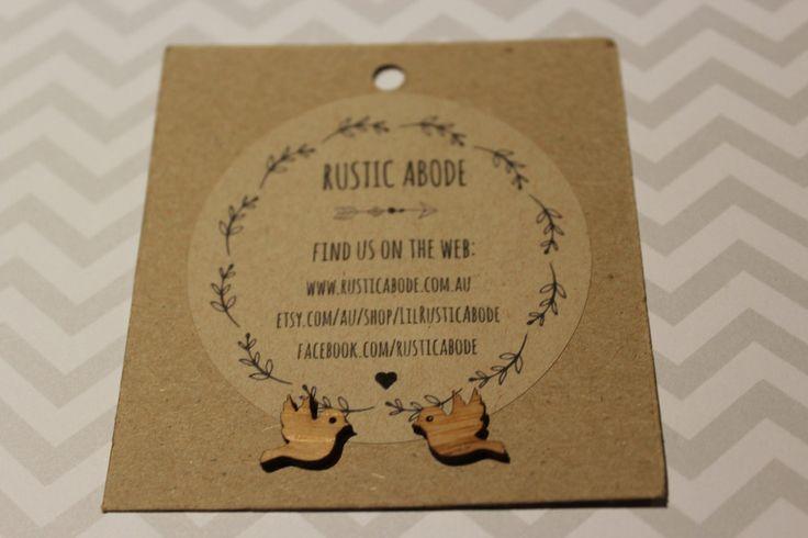 Handmade Wooden Laser Cut Stud Earrings ~ Birds