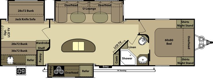 Awesome Layout Bunks And Kitchen Island Travel Trailer Bunkhouse