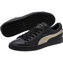 Sleek and streamlined, the PUMA Basket originally hit the scene in the '60s as a basketball warm-up shoe, but it was quickly adopted by the hip hop crowd and transformed into a pop culture icon. This version boasts a textured leather upper and a metallic Formstrip.  Features   Textured leather upper  Lace closure for a snug fit  Rubber outsole for grip  Metallic PUMA Formstrip at both sides  PUMA Logo label at tongue  PUMA Basket callout at lateral side  PUMA Cat Logo at heel