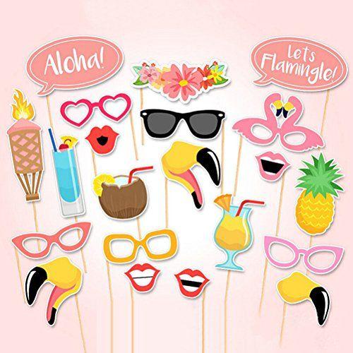 Tinksky 21pcs Flamingo Hawaii Sommer Themenfest Photo Booth Requisiten Kit Luau Partei liefert für Urlaub Hochzeit Party Favors