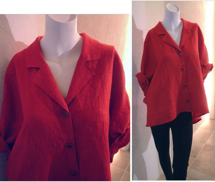 麻レッド赤リネンシャツ 半袖 七分袖 ロールアップ ドルマンスリーブ フレンチスリーブ オーバーサイズシャツ ブラウス オープンカラーシャツ シャツジャケット カーディガン パジャマシャツ ゆったり11号 13号 Lサイズ COCOdake COuture 日本製