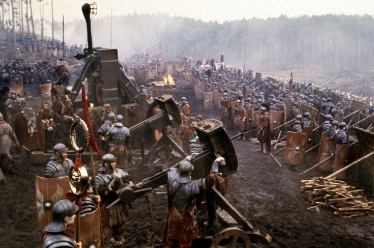 """Roman Legion arrayed for battle against the Gallic barbarians from the movie """"Gladiator""""."""
